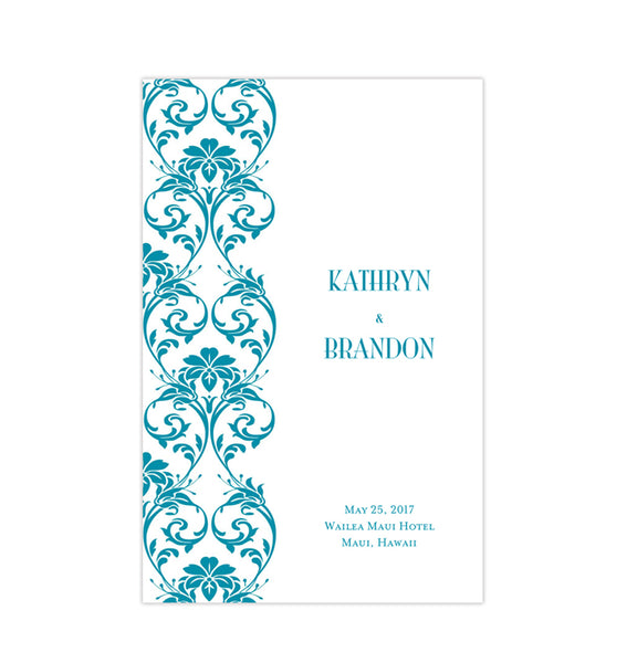 Wedding Program Template Damask Oasis Blue Printable DIY