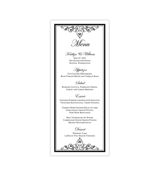 Wedding Menu Card Vintage Black White Tea Length Printable DIY Templates