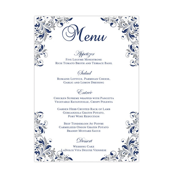 Wedding Reception Menu Template Kaitlyn Navy Blue Gray 5x7 Printable DIY