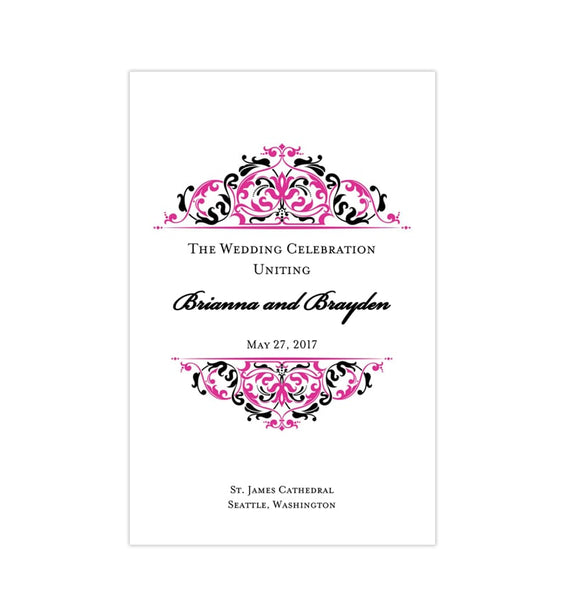 Wedding Program Template Grace Fuschia Pink Black Printable DIY