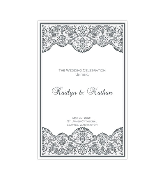 Wedding Program Template Vintage Lace Medium Gray Printable DIY