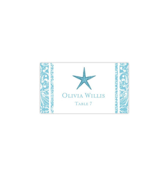 Wedding Seating Card Beach Starfish Pool Blue Tent Printable DIY Templates