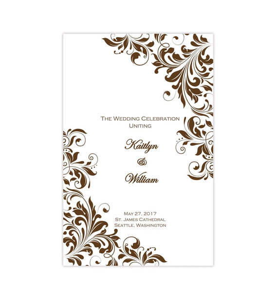 Catholic Church Wedding Program Kaitlyn Chocolate Brown Printable DIY