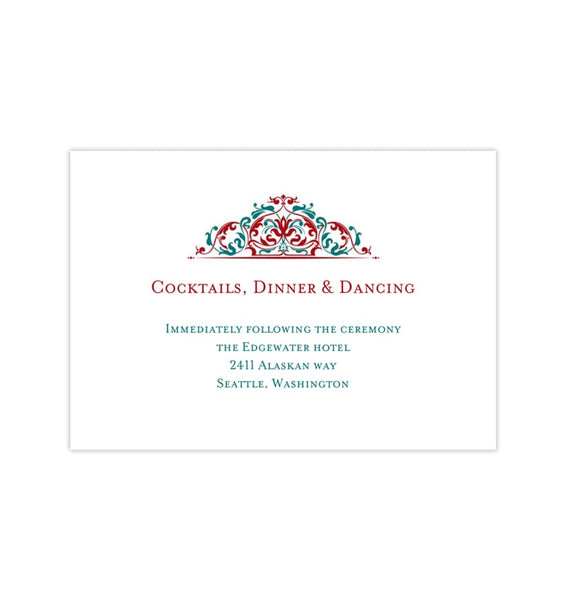 Wedding Reception Invitations Grace Red Teal Printable Templates