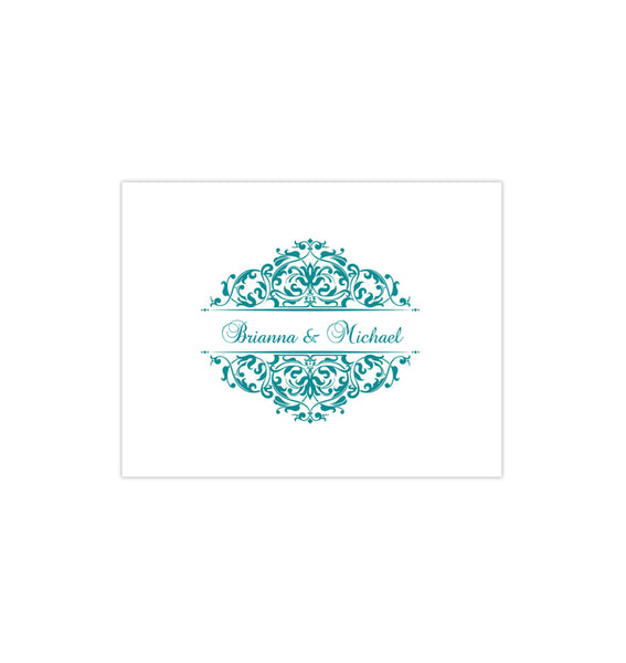 Wedding Thank You Card Grace Teal Printable DIY Templates