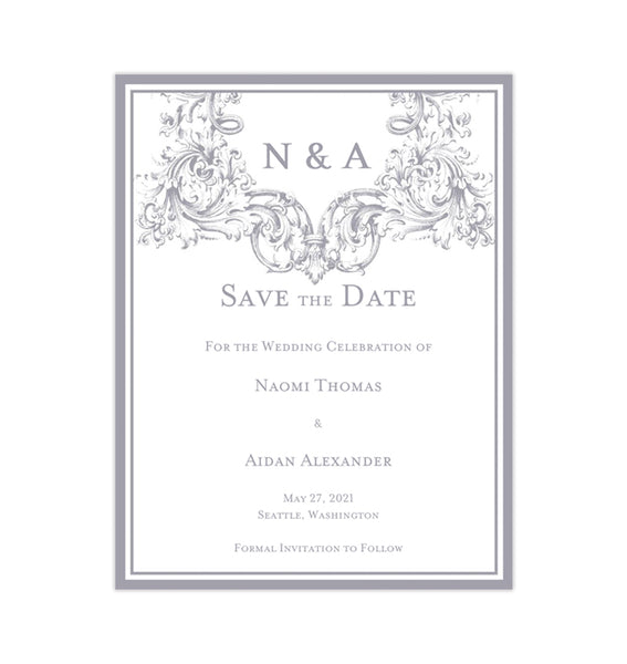 Wedding Save the Date Cards Vienna Gray Printable DIY Templates