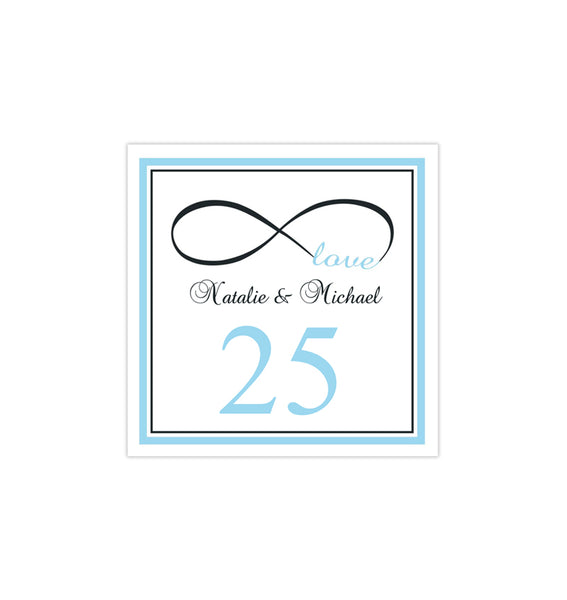 Printable Table Number Template Infinity Love Sky Blue Charcoal Gray Tent