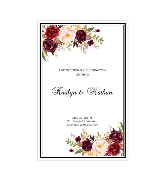 Wedding Program Template Burgundy, Red, Blush Pink