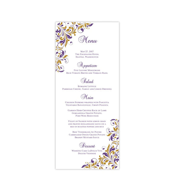 Wedding Menu Card Kaitlyn Purple Gold Tea Length Printable DIY Templates