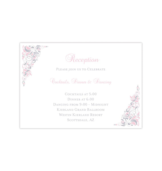 Wedding Reception Invitations Gianna Blush Pink Silver Gray Printable Templates