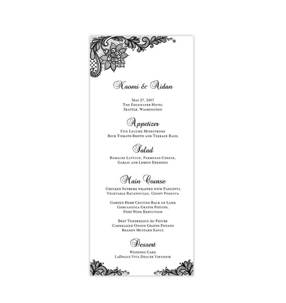 Wedding Menu Card Vintage Lace Black Tea Length Printable DIY Templates