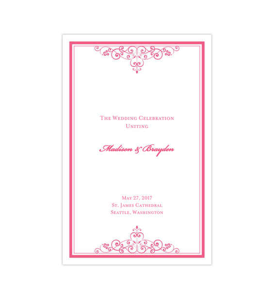 Wedding Program Template Vintage Pink Printable DIY