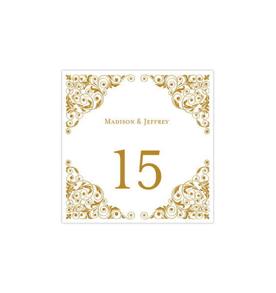 Printable Table Number Template Isabella Gold Tent DIY Wedding