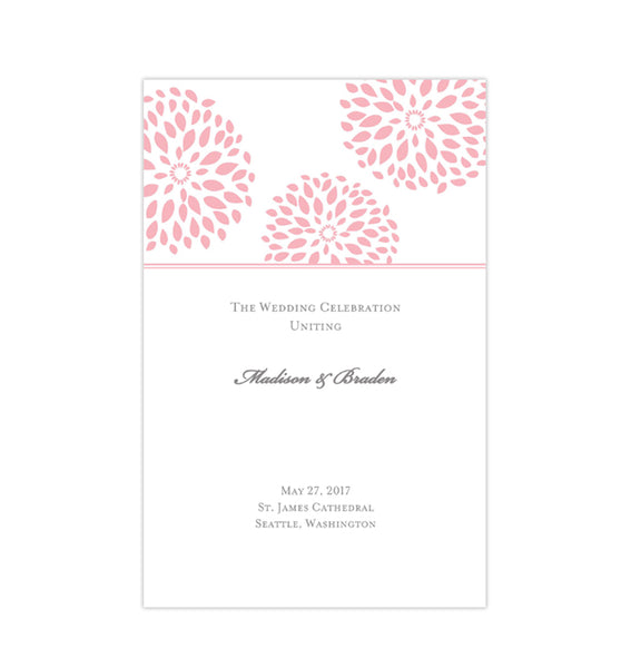 Wedding Program Template Floral Petals Blush Pink Printable DIY