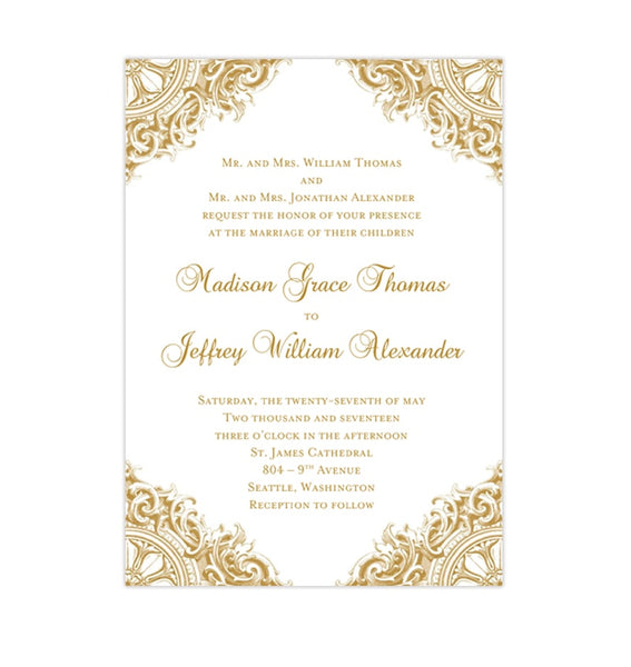 Vintage Wedding Invitation Gold Printable DIY Template