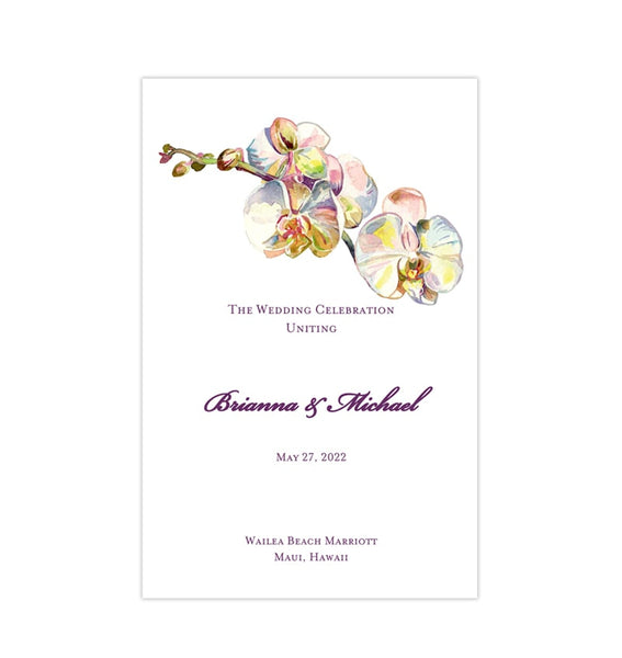 Wedding Program Template Watercolor Orchid Printable DIY