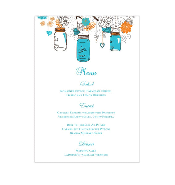 Wedding Reception Menu Template Rustic Mason Jars Blue Orange 5x7 Printable DIY