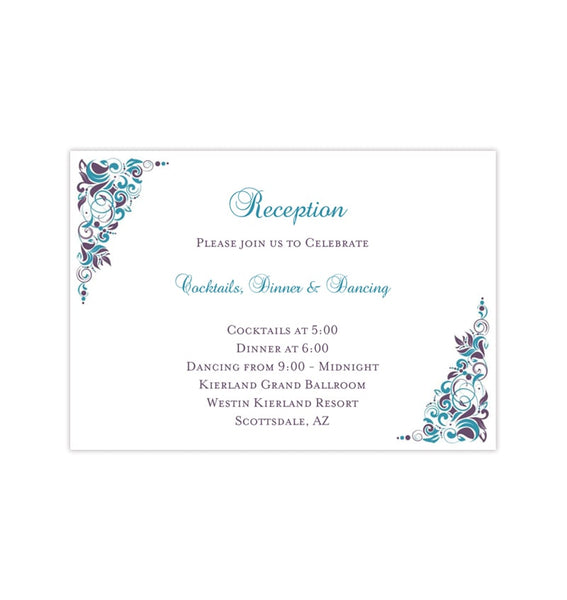 Wedding Reception Invitations Gianna Peacock Purple Teal Printable Templates