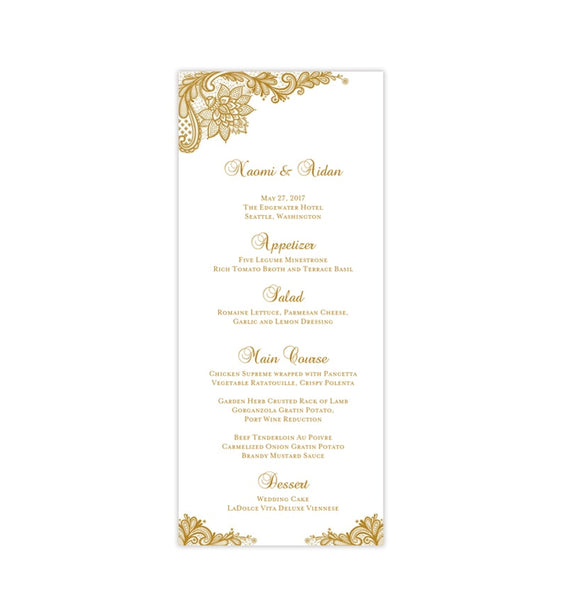 Wedding Menu Card Vintage Lace Gold Tea Length Printable DIY Templates