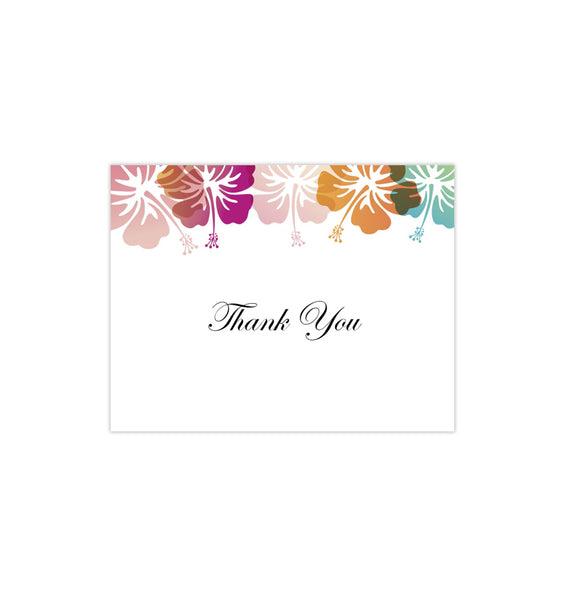 Wedding Thank You Card Hibiscus Tropical Printable DIY Templates