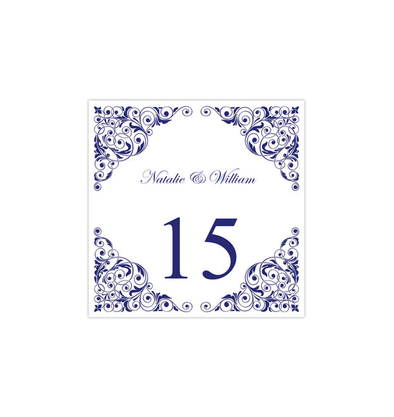 Printable Table Number Template Isabella Navy Blue Tent DIY Wedding