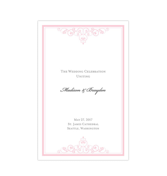 Wedding Program Template Vintage Light Pink Printable DIY