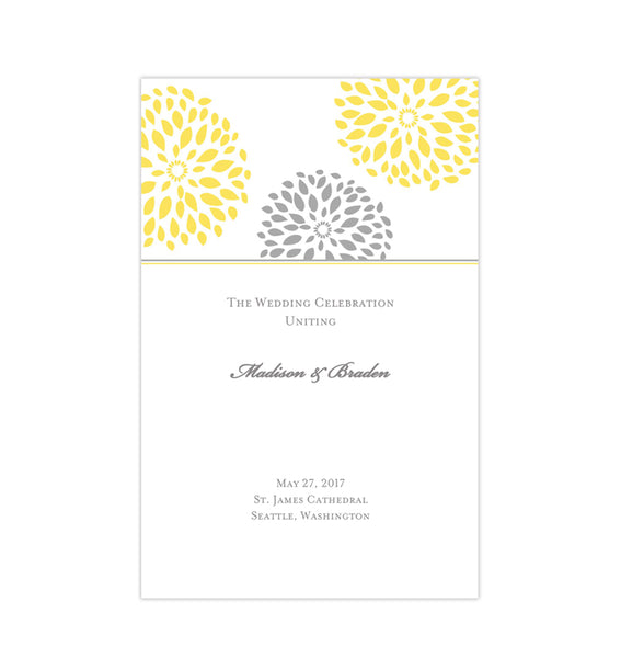Wedding Program Template Floral Petals Yellow Gray Printable DIY