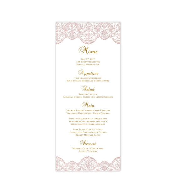 Wedding Menu Card Vintage Lace Blush Pink Tea Length Printable DIY Templates