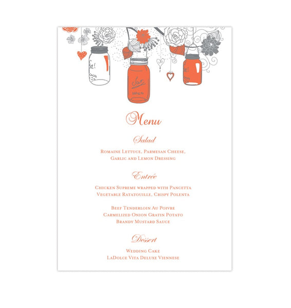 Wedding Reception Menu Template Rustic Mason Jars Coral Gray 5x7 Printable DIY