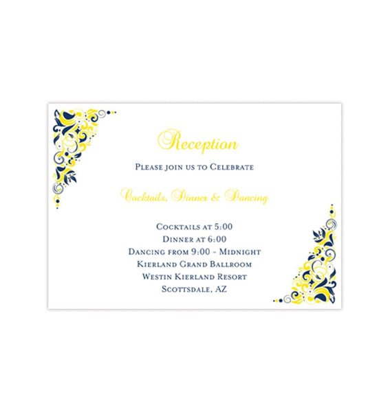 Wedding Reception Invitations Gianna Navy Blue Lemon Yellow Printable Templates