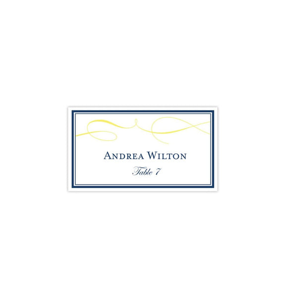 Wedding Seating Card It's Love Navy Yellow Tent Printable DIY