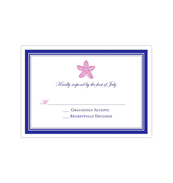 Wedding Response Cards Beach Starfish Hot Fuchsia Pink Royal Blue Printable DIY Templates