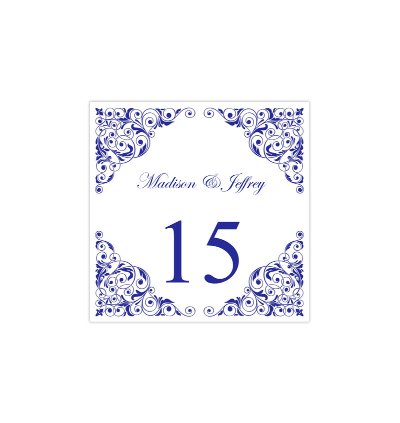 photo regarding Printable Table Numbers referred to as Printable Desk Quantity Template Isabella Royal Blue Tent
