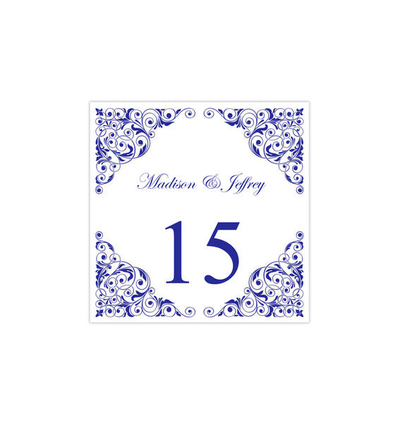 Printable Table Number Template Isabella Royal Blue Tent DIY Wedding