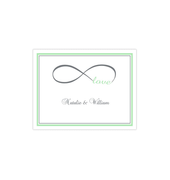Wedding Thank You Card Infinity Love Mint Green Gray Printable DIY Template