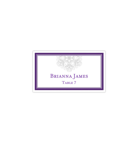 Wedding Seating Card Snowflake Purple Silver Tent Printable DIY Place