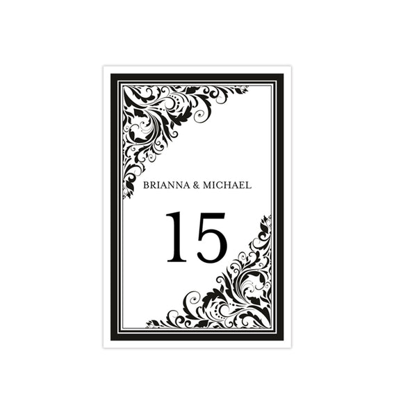 Wedding Table Number Template Brooklyn Black White Flat Printable DIY