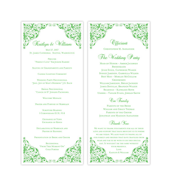 Slim Wedding Program Isabella Kelly Green Printable DIY Templates