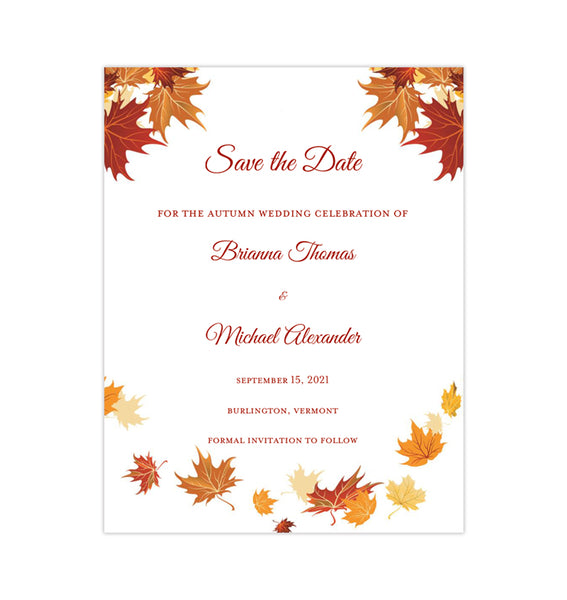 Wedding Save the Date Cards Falling Leaves Red Orange Yellow Printable DIY