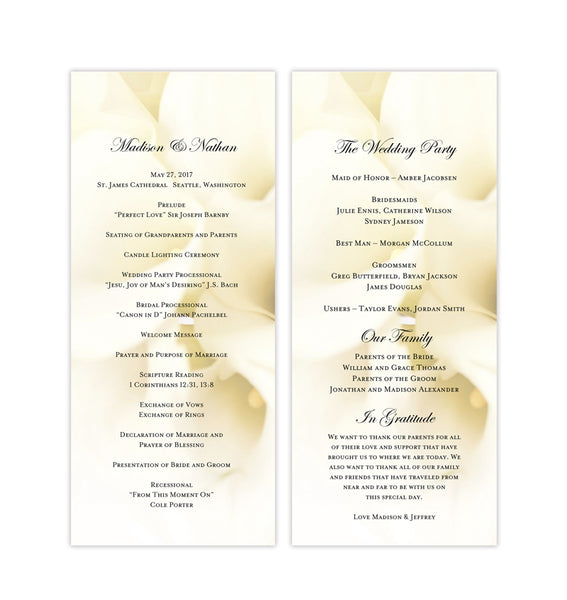 Slim Wedding Program Calla Lily White Printable DIY