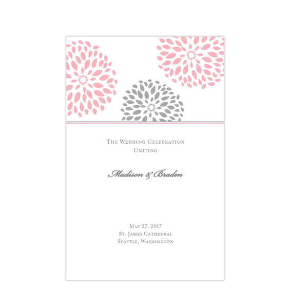 Wedding Program Template Floral Petals Pink Gray Printable DIY