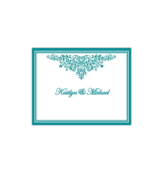 Wedding Thank You Card Anna Maria Teal Printable DIY Template