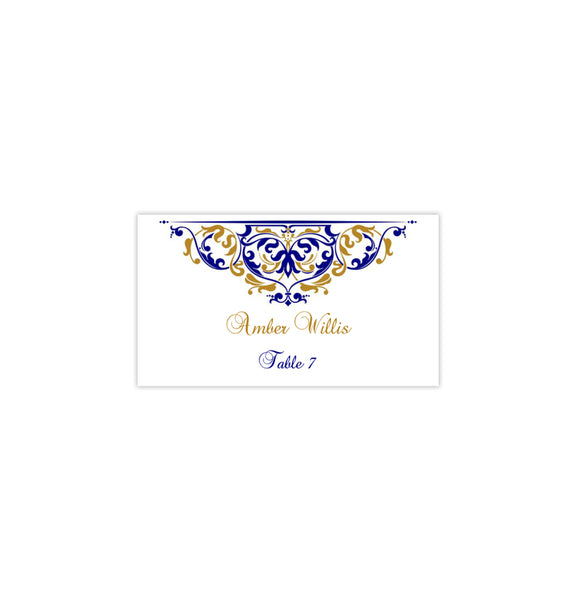 Printable Wedding Place Cards Grace Gold Navy Flat DIY Template
