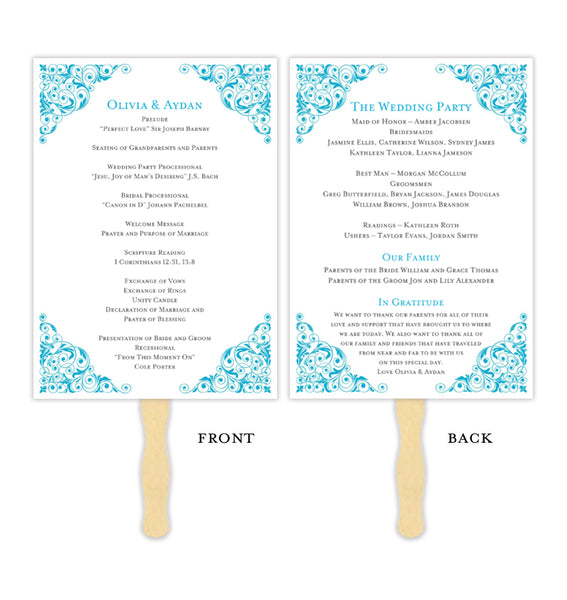 Wedding Program Fan Isabella Malibu Blue Printable DIY Templates