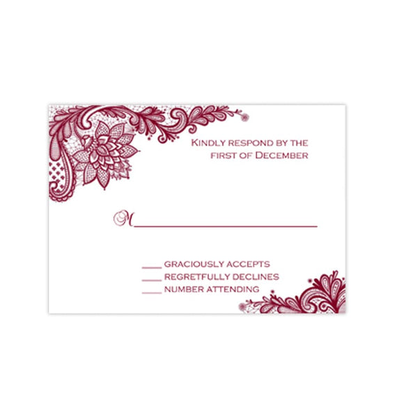 Wedding Response Cards Vintage Lace Burgundy Wine Cranberry Printable DIY Templates