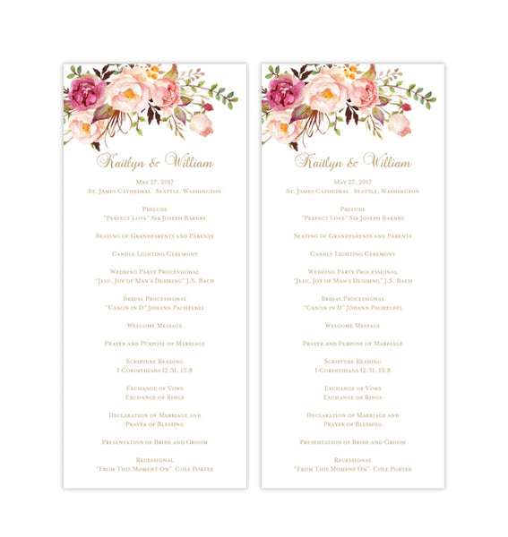 Slim Wedding Program Romantic Blossoms Floral Printable DIY Templates