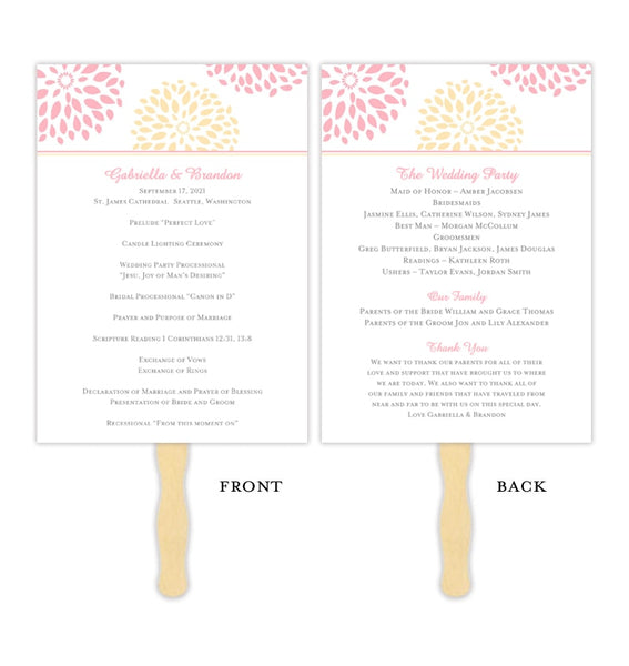 Wedding Program Fan Floral Petals Pink Peach Printable DIY Template