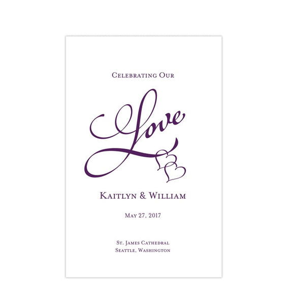Wedding Program Template Two Hearts One Love Purple 89 Printable DIY