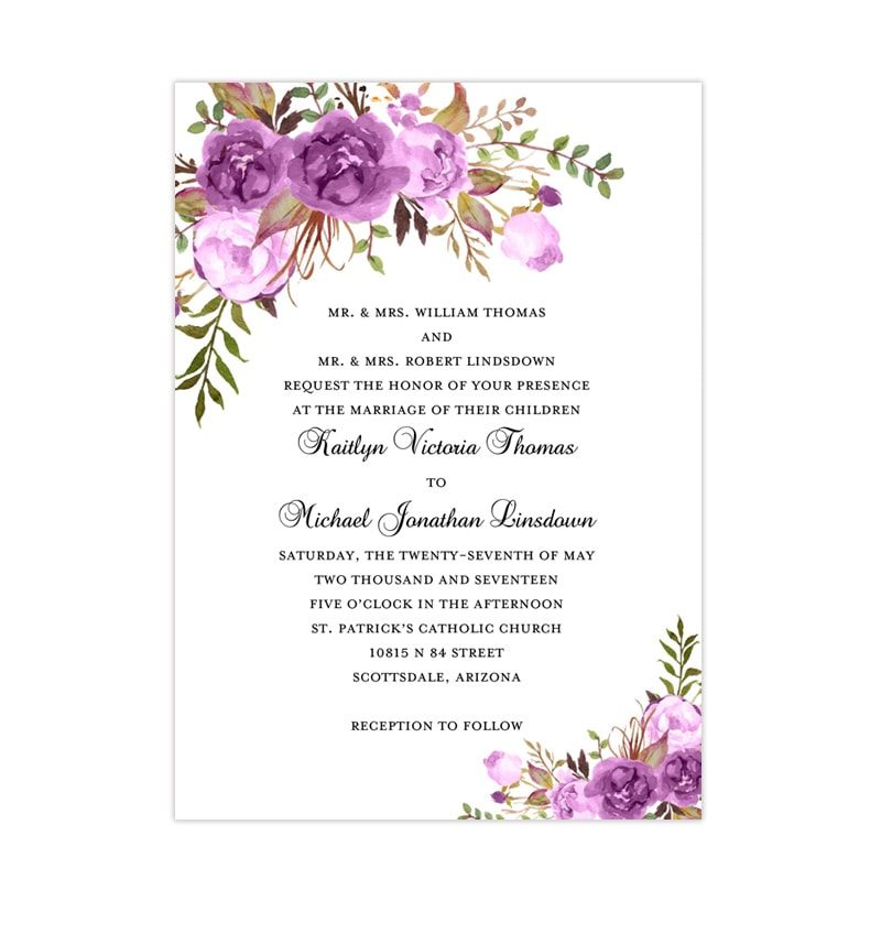 Wedding Invitation Template.Printable Wedding Invitation Romantic Blossoms Purple Lavender Lilac