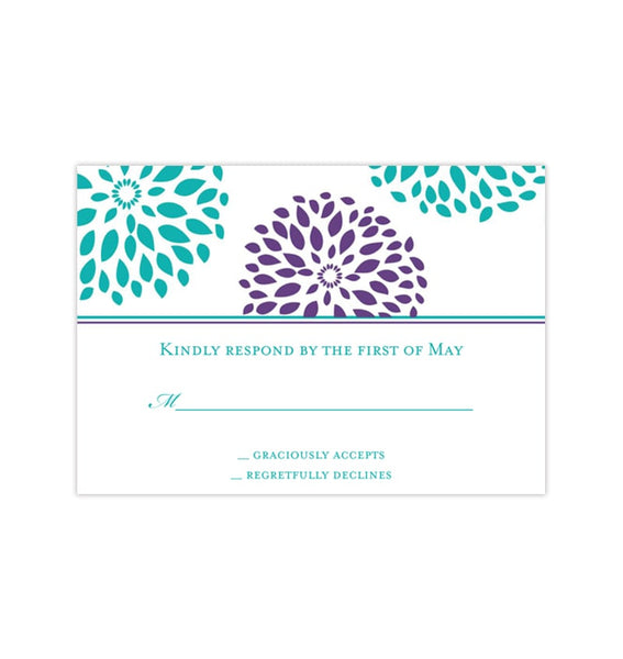 Wedding Response Cards Floral Petals Turquoise Teal Purple Printable DIY Templates